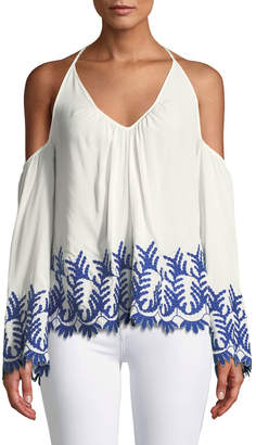 Ramy Brook Damaris Cold-Shoulder Embroidered Halter Top