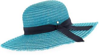 Inverni Iris Two-Tone Sun Hat w/ Hat Band & Bow