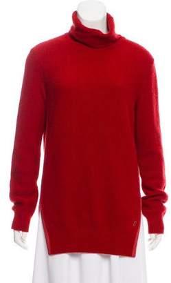 Loro Piana Suede-Trimmed Cashmere Turtleneck Sweater