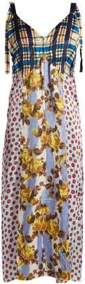 MARNI V-neck contrasting-print satin midi dress