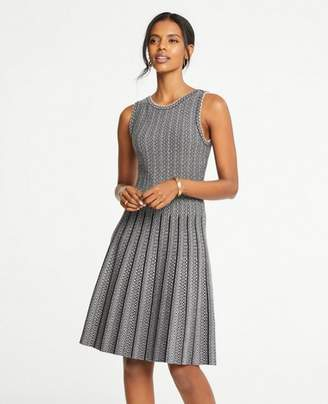 Ann Taylor Jacquard Pleated Flare Sweater Dress