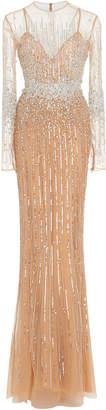 Murad Zuhair Baby Jane Beaded Sheer Dress