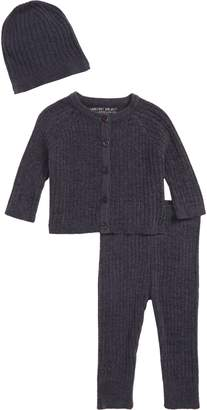 Barefoot Dreams R) CozyChic(TM) Ultra Lite Ribbed Cardigan, Pants & Beanie Set