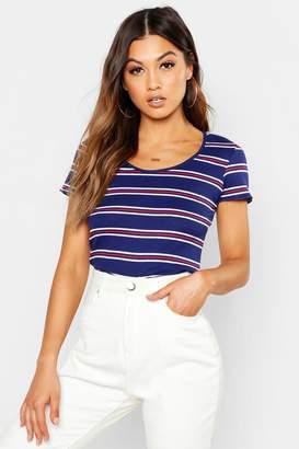 boohoo Stripe Rib Crew Neck T-Shirt