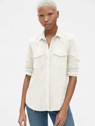 dcdaa82c Denim Shirt White Snaps - ShopStyle