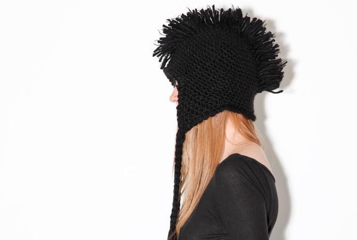 Black Mohawk Fringe Knit Cap