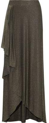 Haute Hippie Wrap-Effect Metallic Stretch-Jersey Maxi Skirt