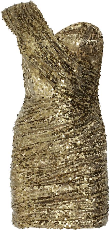 Opulence England Sequined one-shoulder dress