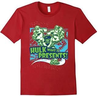 Marvel Hulk Want Presents Halftone Holiday Graphic T-Shirt