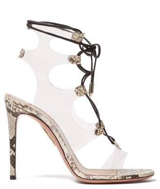 Aquazzura Milons 105 Snake Print Leather Sandals - Womens - Black White