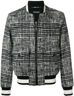 Dolce & Gabbana checked bomber jacket