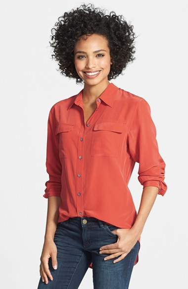 Vince Camuto Two by Silk Utility Blouse (Regular & Petite)