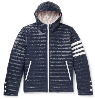 Thom Browne Striped Quilted Shell Hooded Down Jacket - Navy