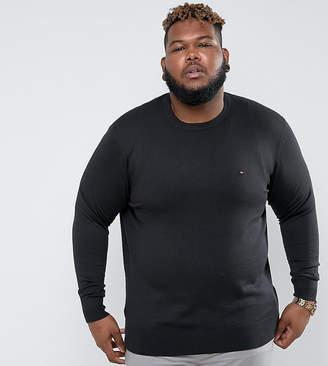 Tommy Hilfiger Plus Crew Neck Jumper Cotton Silk In Black