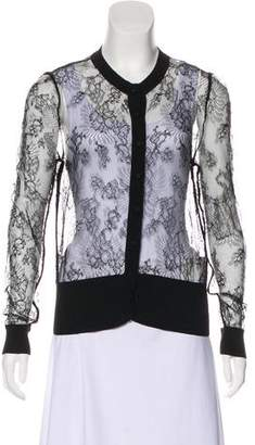 Valentino Lace Trim Long Sleeve Cardigan