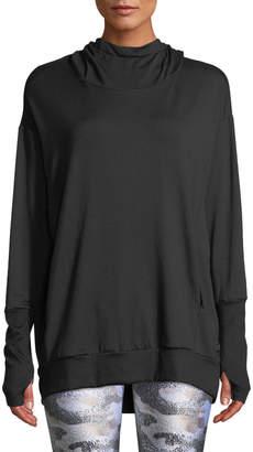 Terez Hooded Cowl-Neck Sweatshirt