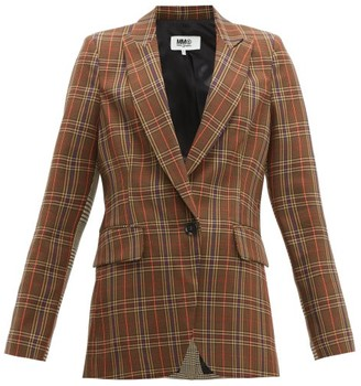 MM6 MAISON MARGIELA Single Breasted Two Tone Checked Blazer - Womens - Brown
