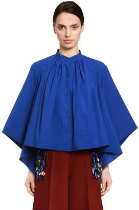 DELPOZO Cape Effect Cotton Poplin Blouse