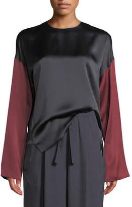 Vince Colorblock Silk Long-Sleeve Blouse