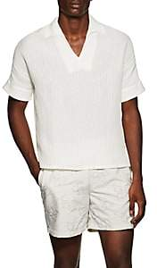 HECHO Men's Textured-Ribbed Silk-Linen Shirt - Ivorybone