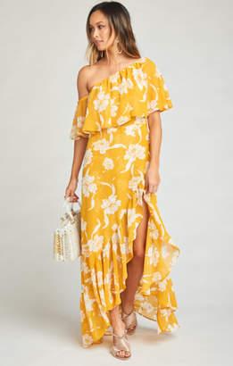 MUMU Tango Ruffle Maxi Dress ~ Bloom Gold