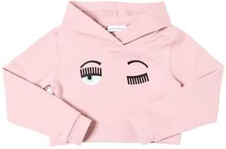 Chiara Ferragni Cropped Cotton Sweatshirt Hoodie