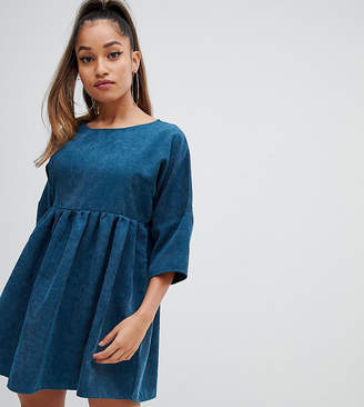 Missguided Petite cord smock mini dress in blue
