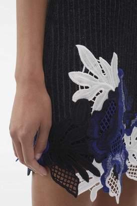 3.1 Phillip Lim Lace-Embellished Ribbed Dress