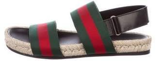 Gucci Web Jute-Trimmed Sandals w/ Tags