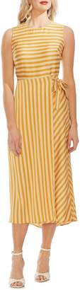 Vince Camuto Bay Stripe Side Tie Midi Dress