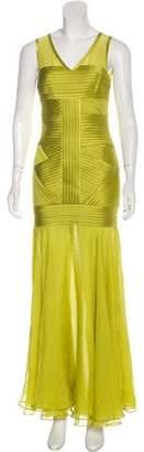 Halston Textured Maxi Evening Dress