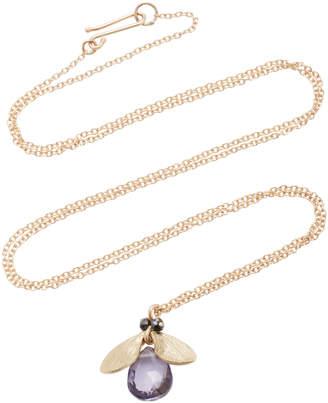 Annette Ferdinandsen Jeweled Bug 14K Gold And Black Diamond Pendant Necklace