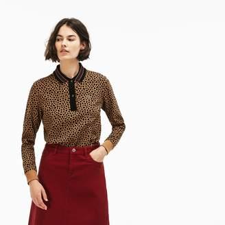 Lacoste Women's LIVE Boxy Fit Leopard Print Cotton Interlock Polo