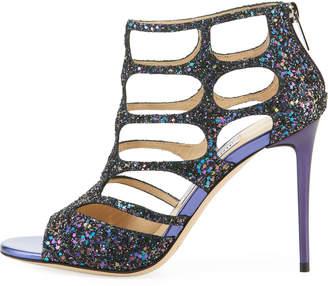 Jimmy Choo Ren Caged Crushed Glitter High Dressy Sandal