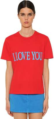 Alberta Ferretti I Love You Cotton Jersey T-shirt