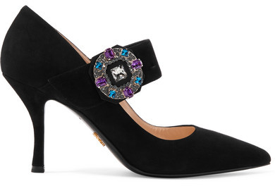 Prada - Crystal-embellished Suede Pumps - Black