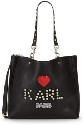Karl Lagerfeld Paris Faux Pearl & Sequin-Embellished Tote