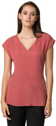 Le Château Women's V-Neck Cap Sleeve Top,XXL