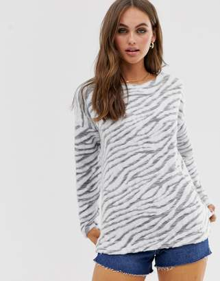 New Look zebra print jumper in grey pattern