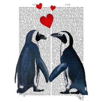 Asstd National Brand Penguins With Love Hearts Canvas Wall Art