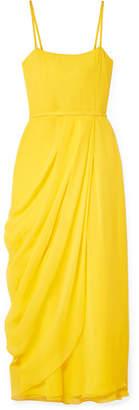 Carolina Herrera Wrap-effect Silk-georgette Midi Dress - Yellow