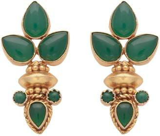 Carousel Jewels - Elegant Multi Green Onyx Gold Earrings