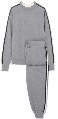 Olivia von Halle - Missy London Striped Silk And Cashmere-blend Sweatshirt And Track Pants Set - Gray