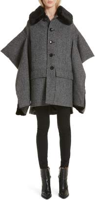 Junya Watanabe Faux Fur Trim Split Sleeve Wool Coat