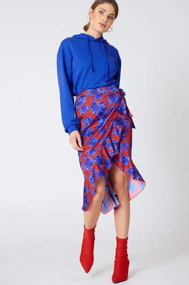 NA-KD Wrap Over Satin Frill Skirt