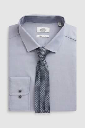 47be6c3a50eb Next Mens Light Grey Regular Fit Single Cuff Tonic Shirt And Tie Set - Grey