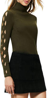 Ramy Brook Kimila Ribbed Lattice-Cutout Turtleneck Sweater