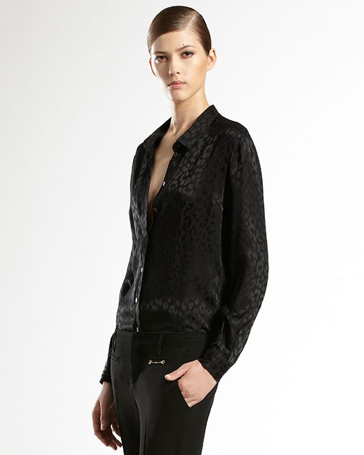 Gucci Silk Leopard Jacquard 70's Shirt