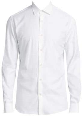 Salvatore Ferragamo Tonal Gancini Regular-Fit Cotton Button-Down Shirt
