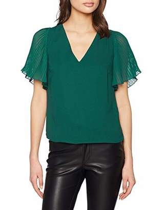 New Look Women's Pleat Sleeve T-Shirt,6 (Manufacturer Size:6)